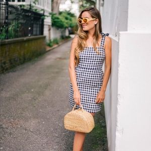 Express Gingham tie shoulder dress